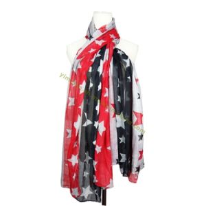 Fashion Star Print Two-Tone Voile Scarf for Lady pictures & photos