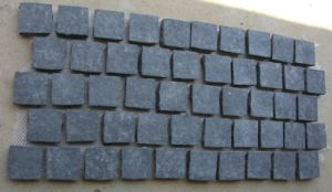 Flamed Black Basalt Cube Stones on Mesh for Paving pictures & photos