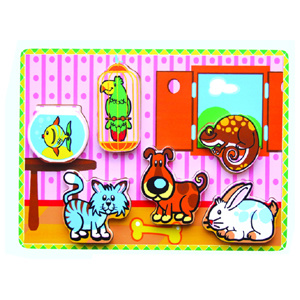 Wooden Thick Puzzle Toy for Baby with Family Animals (80498) pictures & photos
