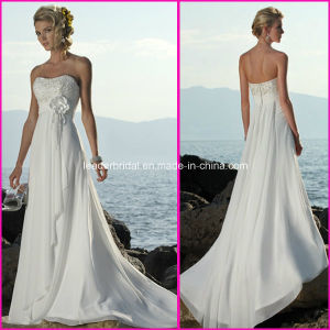 Chiffon Beach Beaded Bridal Dresses Corset Maternity Wedding Gowns A43 pictures & photos