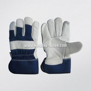 Thinsulate Lined Cow Grain Leather Palm Drill Cotton Back Glove (3106) pictures & photos