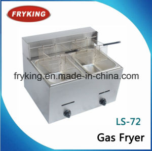 Counter Top Dual Tanks Gas Fryer Frying Machine pictures & photos