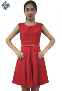 Ladies Jacquard Pleated Knitting Dress (LDS-26)