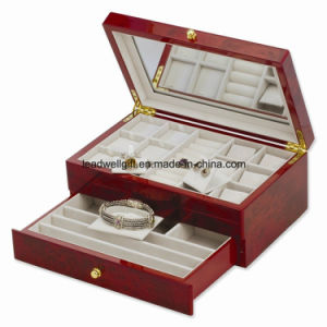 Dark Burlwood High Gloss Finish Jewelry Box/Case with Drawer pictures & photos