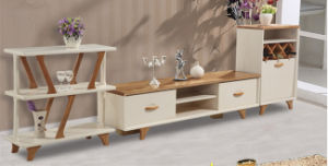 Modern Solid Wood TV Stand with Wine Chest and Rack
