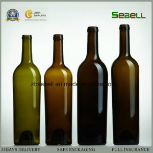 750ml Wine Glass Bottle with Cork Top in Antique Green Color (NA-019) pictures & photos