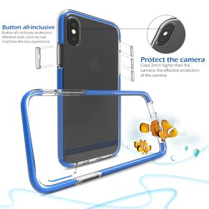 Blue Double Layer Clear Soft Transparent TPU Impact Drop Protective Mobile Phone Cases for iPhone8 pictures & photos