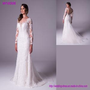 W18506 New Model Style Elegant Long Sleeve Ivory Mermaid Wedding Dress pictures & photos