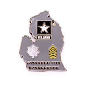 High Quality Enamel Map Shape Military Coin pictures & photos