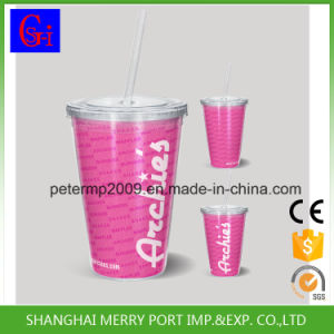 18 Oz Plastic Double Wall Mugs with Straw Lid pictures & photos