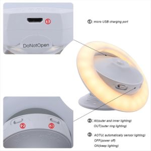 High Quality Humanization Design 360 Degree Rotating LED Night Lights with Dual Motion Sensor, Wireless USB Rechargeable Wall Light Security Lighting Lamp pictures & photos