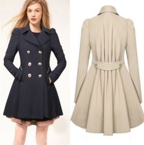 Women′s Classic Double-Breasted Slimming Casual Long Trench Coat pictures & photos