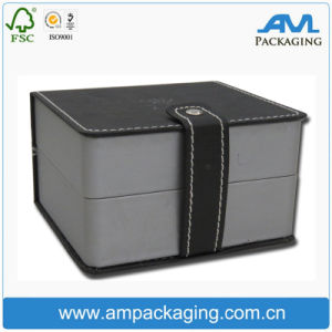 Cube Shaped Leather Like Black Luxury Watch Box Magnet Close with EVA Insert pictures & photos