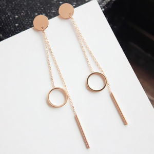 Popular Jewelry Fashion Rose Gold Women Long Drop Earrings pictures & photos