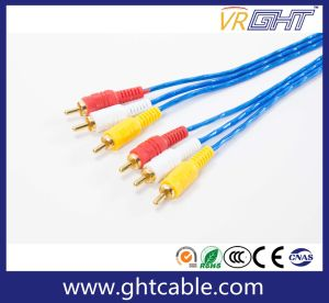 High Quality 1.5m / 1.8m / 3m / 5m 3RCA to 3RCA AV Cable Male to Male Audio video TV Cable pictures & photos
