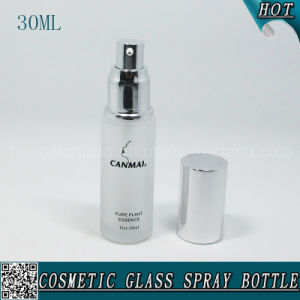 30ml Empty Frosted Cosmetic Glass Lotion Pump Bottle with Aluminum Cap pictures & photos