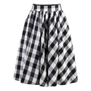 Cotton Poplin Maxi Pleased Skirts Women Casual Summer Plaid Skirt pictures & photos