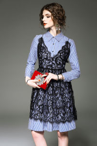 Haute Couture Women′s Lace Stitching Stripe Long Sleeve Shirts Two-Piece Dress pictures & photos