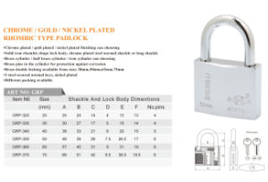 Chrome/Gold/Nickel Plated Rhombic Type Padlock pictures & photos