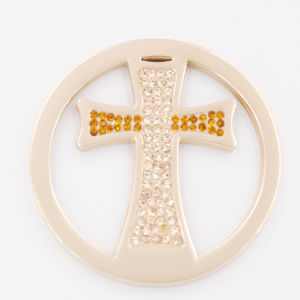 Iprg Plated Cross Coin with Stones Fit Locket Pendant Fashion Jewelry pictures & photos