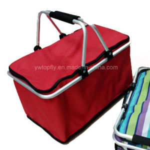Collapsible Aluminum Handle Shopping Basket with 600d Polyester pictures & photos