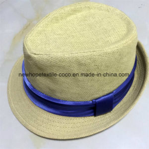 100% Straw Hat, Fashion Fedora Style with Band Decoration for Men pictures & photos