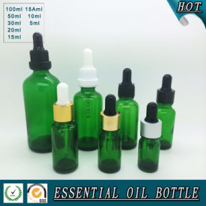 Wholesale Green Glass Essential Oil Bottle with Press Pump Dropper pictures & photos
