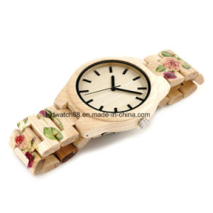 2017 New Design Women′s Wood Watch with Printing Band pictures & photos