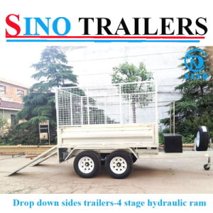 Galvanised 10X5 Tandem 2 Ton Hydraulic Tipper Tipping Plant Box Trailer & Cage pictures & photos