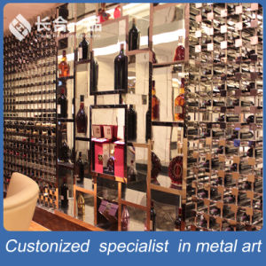 High-End Customized Stainless Steel Rose Gold Hairline Wine Rack for Cellar pictures & photos