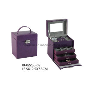 Black Ostrich Material with Grey Lining Gift Jewelry Display Box Leather Jewelry Box pictures & photos