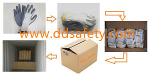 DDsafety 2017 13G White Nylon Grey Nitrile Coated Work Gloves pictures & photos