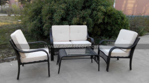 Flat Wicker Sofa Set Outdoor Furniture All Weather Resistant PE Aluminium Garden Kd Sofa pictures & photos
