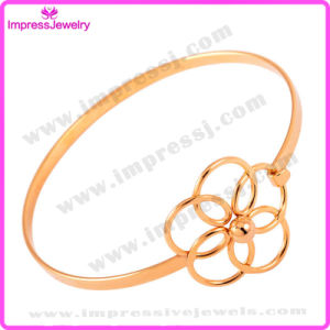 Hollow out Flower Crytsal Cuff Bangle Simple Wire Wrap Bracelet pictures & photos