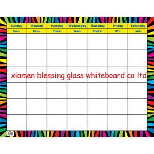 Magnetic Tempered Glass Calendar Board, Glass Panel White Board with SGS, En71/72/73