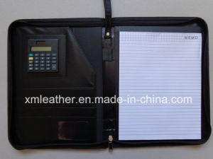 Custom New Design Leather Portfolio Padfolio Zipper File Folder pictures & photos
