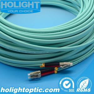 LC Duplex Om3 10g 3.0mm Aqua Optical Fiber Patch Cord pictures & photos
