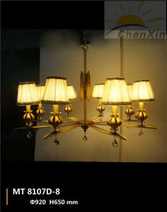 Crystal Raindrop Embossing Fabric Shade Droplight Chandelier Lamp-Living Room pictures & photos