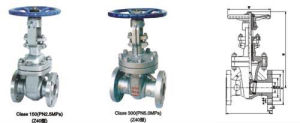 Cast Steel Body Material ANSI Standard Gate Valve with Drawing pictures & photos
