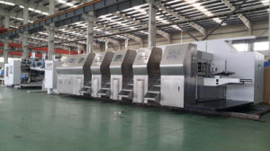 Zxkm2000 High Speed Automatic Printing   Slotting with Die Cutting Carton Gluing Production Line pictures & photos
