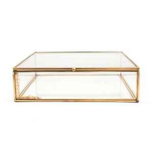 Golden Brass Metal Trimmed Glass Jewelry Packaging Box pictures & photos