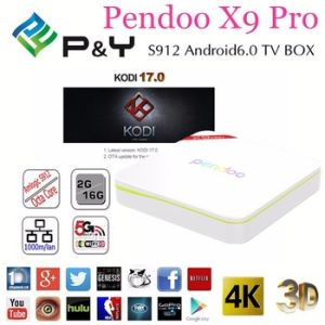 Factory Price Pendoo X9 PRO Amlogic S912 Octa-Core Dual WiFi with Bluetooth Kodi 17.0 Android 6.0 TV Box pictures & photos