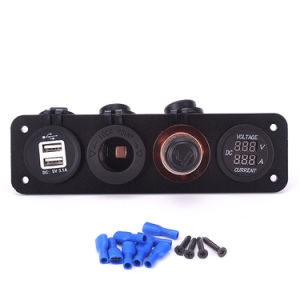 Car Motorcycle 4 Hole Waterproof Voltage Meter 12V Accessory Power Socket pictures & photos