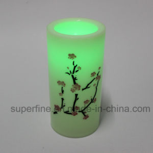 Indoor Flameless Battery Operated Electronic Portable LED Pillar Candles with Printed pictures & photos