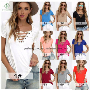 2017 Sexy Short Sleeved Plain V-Neck Fashion Women T-Shirt Factory pictures & photos