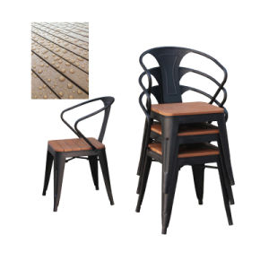 Patio Gaden Furiture Metal Teak Colour Plastic Wood Table Arm Chair (J833) pictures & photos
