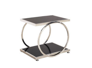 Elegant Luxury Moderen Design Furniture Tempered Glass Stainless Steel Black Side Table pictures & photos