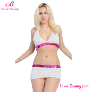 Energetic Plus Size White and Pink Bra Set pictures & photos