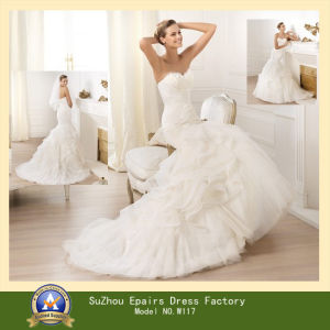 2014 New Collection Mermaid Ruffle Skirt Mermaid Wedding Dress (W117