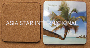 Square Ocean View Printing Cork Coaster pictures & photos
